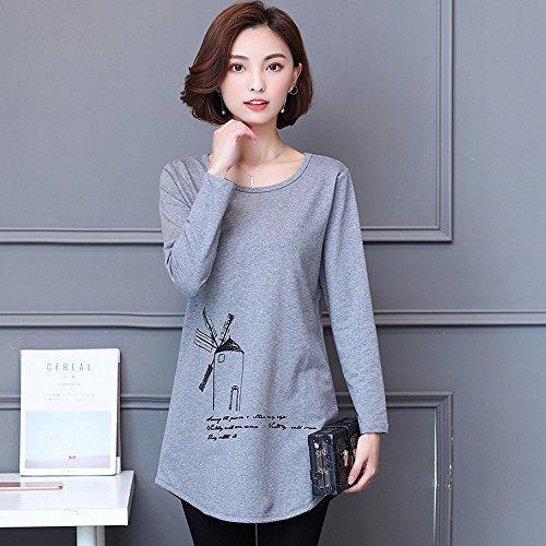 Duya新しい大きいサイズの女性の長いセクション長袖Tシャツ女性の底入れシャツを着て秋の服SD1E56D 6089