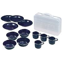 CAPTAIN STAG鹿牌腰部搪瓷餐具套装 【盘子、碗、马克杯各4个套装/带盒】 M-1078
