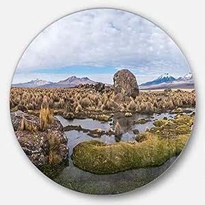 Designart MT1132-C11 玻利维亚火山全景景景观盘金属墙体艺术光盘 11 X 11 11X11 - Disc of 11 inch MT11302-C11