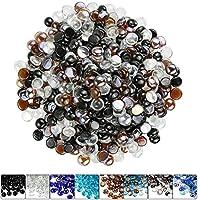 Hisencn 1.27 cm 混合火玻璃珠适用于火盆、壁炉、火盆、花园景观装饰配件、高光泽钢化玻璃岩石,缟玛瑙黑琥珀,水晶混合冰,4.45 kg