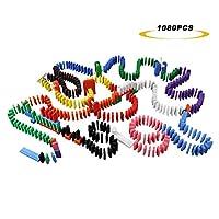 MorTime 1080 件 12 色木制多米诺骨牌套装,含 23 个附加积木和 3 个间隔器,适合儿童积木赛车拼贴游戏,带 3 个储物袋