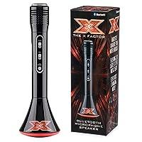 X Factor TY6012 卡拉 OK 麦克风扬声器带蓝牙,LED 灯和回声功能,XF1,黑色