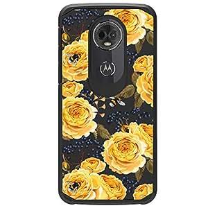 MINITURTLE 手机壳兼容摩托罗拉 Moto E5 Plus - Moto E5 Supra [豪华手机壳系列][可爱的混合手机壳女孩][热带印花/花卉图案][2 部分混合保护套] Bumble Bee Roses