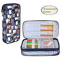 Teamoy 针织针套(*大 10 英寸),圆形和直织针旅行收纳袋,钩针和针织配件 - 不含配件 Blue Cats TY04605