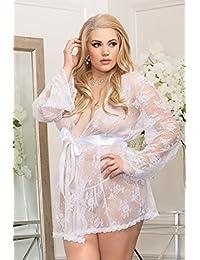 iCollection IC7815X 3 号白色透明蕾丝长袍