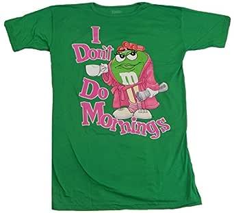M&M M's Candy 傻瓜角色脸 T 恤 Green Don't Do Mornings Nightshirt 均码