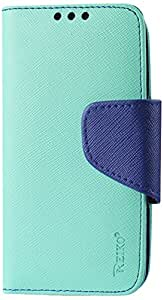Reiko Wallet 3-In-1 Case for Samsung Galaxy S3 Mini with Navy Interior Leather-Like Material and Polymer Cover - Retail Packaging - Green