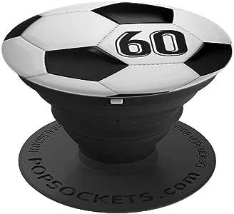 足球 #60 足球运动员球衣 No 60 手机握把礼物 - 适用于手机和平板电脑的 PopSockets 握把和支架260027  黑色