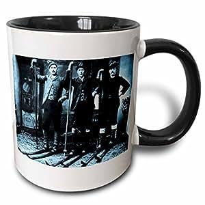 3drose 场景 from THE past 古图像–北欧滑雪俱乐部青色–马克杯 黑色/白色 11-oz Two-Tone Black Mug