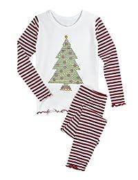 Sara's Prints 女童甜美荷叶边贴身睡衣套装