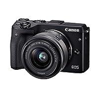 佳能Canon EOS M3 15-45mm微单反相机 高清自拍数码相机 (套餐版【含配件】, 黑色)