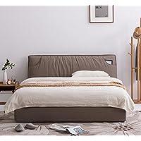 KUKA 顾家家居 全布可拆洗储物布艺软床小户型主次卧室北欧布床B123咖啡森1.5米(亚马逊自营商品, 由供应商配送)