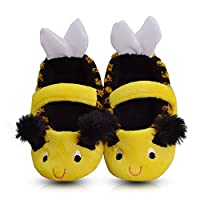 LA PLAGE Girl's Winter Warm Plush Comfy Cute Cartoon Bee Bedroom Slippers (Toddler/Little Kid)