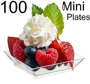 "Zappy Square Mini 2.5"" x 2.5"" Appetizer Dessert 盘子 - 100 一次性硬塑料小美味样板 透明 zp-130c-100"