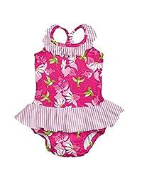 I PLAY . BABY 女童1件褶边泳衣 W / 内置可重复使用游泳尿布 Fuchsia Hummingbird 6 Months