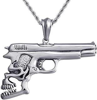 Jude Jewelers 不锈钢哥特式骷髅手枪风格鸡尾酒派对摩托车吊坠项链