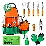 UKOKE 花园工具套装,12 件铝制手部工具套件,花园帆布围裙带储物口袋,户外工具,重型园艺工作套装,符合人体工程学手柄,女性男性园艺工具 12 Pieces Gardening Tools UGP02GFBA