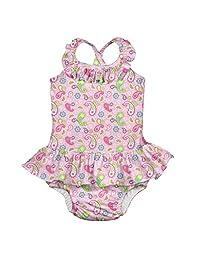 i play. by green sprouts 女童连体泳衣,内置可重复使用的游泳尿布