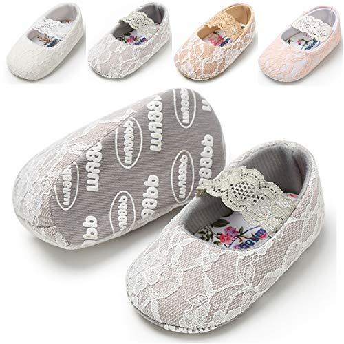 女婴玛丽珍平底鞋蕾丝罗纹防滑软底新生儿学步儿童洗礼礼服婚鞋圣诞礼物