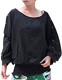 RaanPahMuang 日式深三角扣袖宽松腰衬衫黑色波点