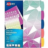 Avery 5 标签双面时尚活页夹隔板,渐变几何设计,大标签,1 套 (24963)