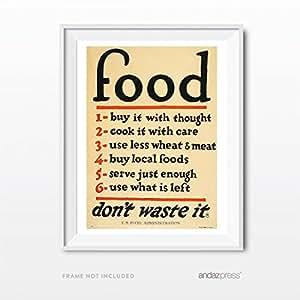 Andaz Press 复古墙壁艺术,工程管理收藏版画 Kitchen Food Dont Waste 8.5 x 11 Inch AP11182