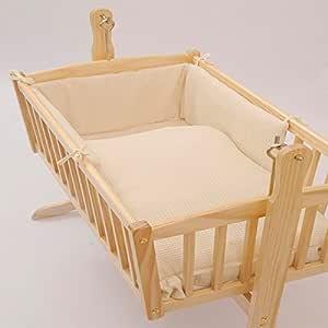 Clair de Lune Waffle Crib/Cradle Quilt and Bumper Set, Cream, 2 Piece