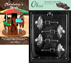 Cybrtrayd Bk-D094 Ladies Society Hat Lolly Dads and Moms Chocolate Candy Mold with Chocolatier's Guide Instructions Book Manual