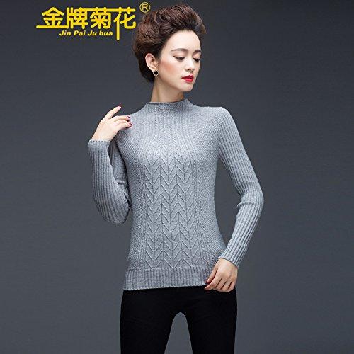 金牌菊花 羊毛衫女装半高领毛衣套头打底衫短款针织衫冬装韩版女羊绒衫