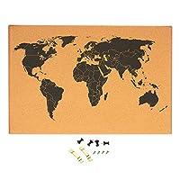 软木板世界地图 - 带详细世界地图的壁挂式布告板,黑色印刷无框世界旅行地图,带针,59.9 x 1.9 x 40.07 厘米