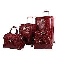 Kathy Van Zeeland Croco PVC 行李箱,4 件可扩展手提箱,带转轮