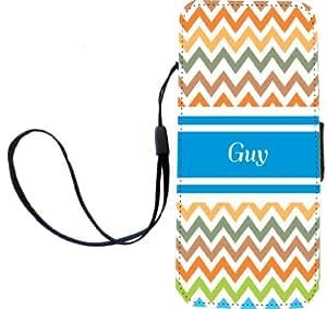 "Rikki Knight""Guy""蓝色波浪形名字翻盖钱包 iPhone 5/5s 磁性翻盖钱包 - ""Guy""蓝色 V 形图案名称"