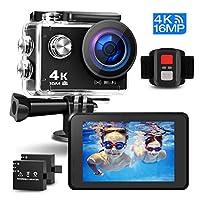 Prymax 4K 动作摄像机,16熔点 WiFi 超高清防抖 30M 水下防水摄像机运动摄像机带 170° 广角镜头和 2.0 英寸 LCD 屏幕和高科技传感器