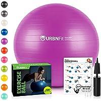 URBNFit 运动球(多种尺寸)适合健身、稳定、平衡和瑜伽 - 包括锻炼指南和快速泵 - 防爆专业品质设计