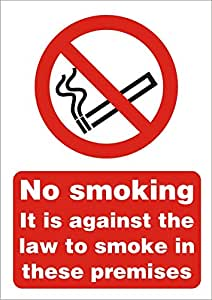Seco No Smoking It is Against The Law to Smoke in These Premises 标志 1mm Semi Rigid Plastic A4