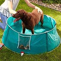 North States MyPet 便携,可折叠,超大,宠物泳池/宠物沐浴 - 随时随地宠物洗澡洗发水盒,皮带固定夹和携带袋,不需要工具。(直径 121.92 厘米,蓝*)