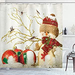 Ambesonne Winter Holiday Snowman Polyster 69-Inch-by-70-Inch Shower Curtain, Red/White/Green/Gold/Khaki