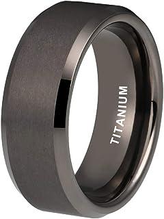 iTungsten 4 毫米 6 毫米 8 毫米 玫瑰金/青铜钛合金戒指 男女订婚 婚戒 斜边边 哑光表面 舒适贴合