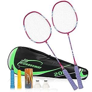 缘诺亿 羽毛球拍 家庭套装碳素 一体羽拍 双拍2支装17# (紫色2支装)
