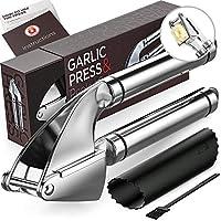 Alpha Grillers 壓蒜器和削皮器套裝。 出售優雅禮品盒。 不銹鋼礦器和硅膠管滾筒