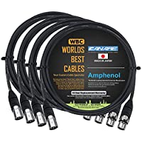 4 块 – 2 英尺 – Canare L-4E6S,星星四平衡公对母式麦克风线缆带Amphenol Silver XLR 连接器 – 由全球*好的线定制。