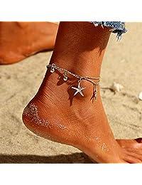 Nicute Boho 海星脚链 银色分层脚踝手链 夏季沙滩脚链 适合女士和女孩