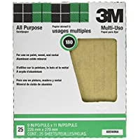 3M Pro-Pak 88590NA Aluminum Oxide Sheets for Paint and Rust Removal, 9-Inch x 11-Inch, 180A-Grit