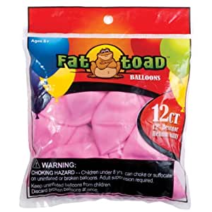 """Fat Toad Balloons Round 12"""" 12/Pkg-Pink Stars"""