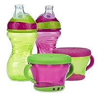 Nuby 4 件套防溢零食套装,粉色/绿色