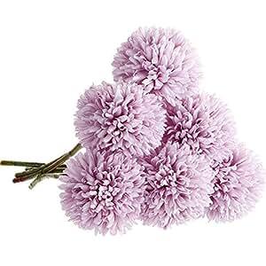 人造花,假花丝绸塑料人造水丹花 6 头新娘婚礼花束 适合家庭花园派对婚礼装饰 6 件(粉红香槟色) 紫色