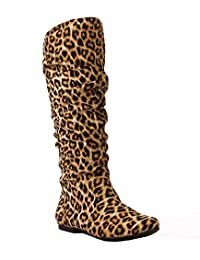RF ROOM OF FASHION 女士软素食主义膝盖高隐藏口袋靴 Leopard Faux Suede 11 M US