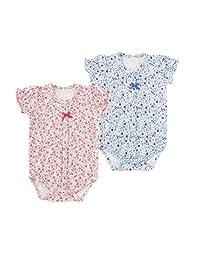 HIHIBaBy 甜美女孩 碎花短袖前开式连体衣套装 WTP2161 粉色・蓝色 70