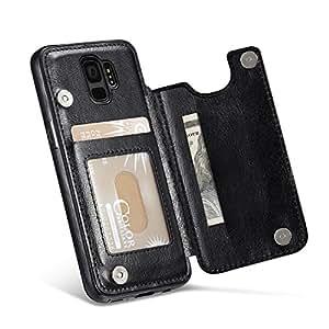 适用于三星 Galaxy S9 PLUS/S9+ 手机壳,Marval.P 超薄高级皮革钱包式手机壳带/卡槽,防震对开保护壳 磁扣支架MP001-S9P-B 黑色