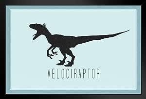 海报 Foundry Velociraptor 恐龙剪影 Swift Seizer Carnivore 蓝色艺术印刷品 裱框海报 20x14 inches 180683